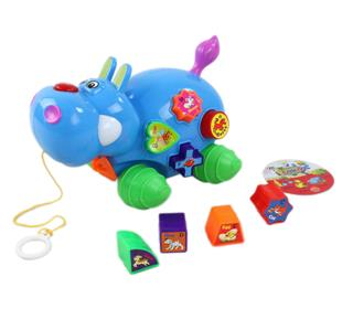 B/O  ELECTRIC BLOCK HIPPO, WITH MUSIC, LIGHTS, PACKAGE 3*AG13